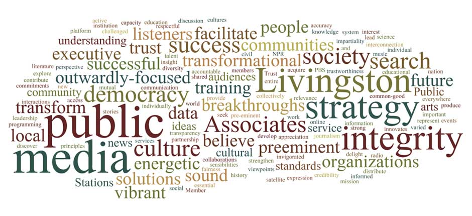 Wordcloud of Livingston Associates' adjectives